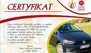 VW Golf papieża Franciszka na aukcji