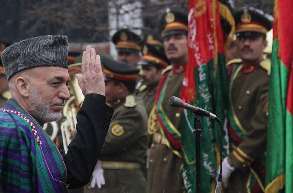 Hamid Karzaj, prezydent Afganistanu, na otwarciu sesji parlamentu