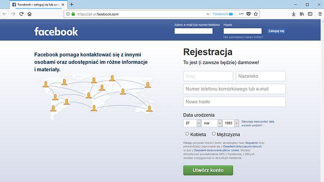 O działaniu dodatku informuje wyłącznie niebieska nazwa Facebook na końcu paska adresu.