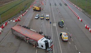 Wypadek pijanego kierowcy tira na podkarpackim odcinku A4 kolo Korczowej.