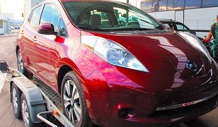 Nissan Leaf na przejściu granicznym w Medyce