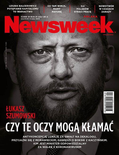 """Minister zdrowia Łukasz Szumowski na okładce """"Newsweeka""""."""