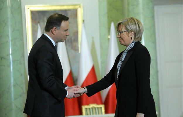 Prezydent Andrzej Duda i Julia Przyłębska podczas zaprzysiężenia na sędzię Trybunału Konstytucyjnego