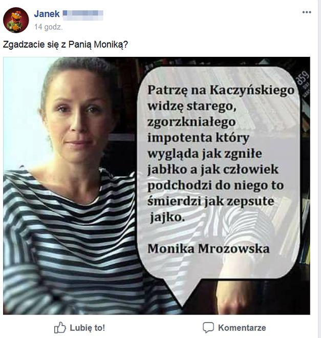 """Kaczyński """"wygląda jak zgniłe jabłko"""". Ktoś podszył się pod znaną aktorkę"""