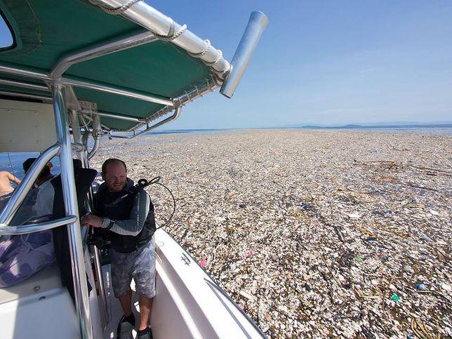 Plama śmieci u wybrzeżu karaibskiej wyspy Roatán