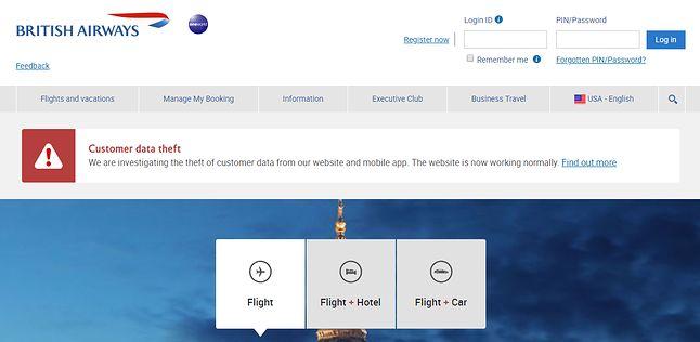 Strona główna British Airways z komunikatem o kradzieży danych.