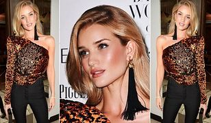 LOOK OF THE DAY: Rosie Huntington-Whiteley łączy aksamit i panterkę