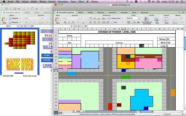 Gry stworzone do uruchamiania w Excelu