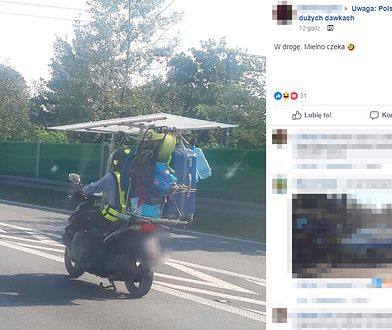 Obładowany bagażami skuter wzbudził zainteresowanie i wesołość wśród internautów.