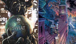 """Pod obwolutą (po lewej) komiksu """"Batman Świat"""" kryje się polska okładka (po prawej)"""