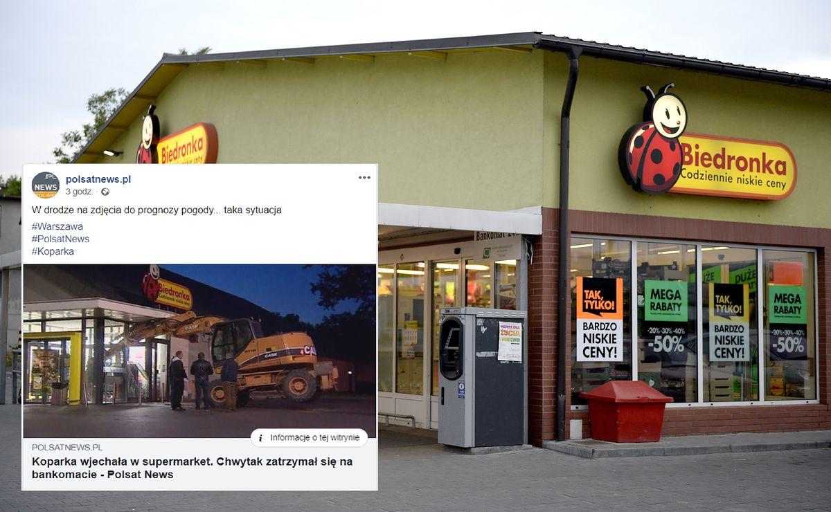 Koparka wjechała w sklep. Łyżka utknęła przy bankomacie
