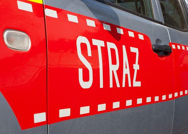 Warszawa. Straż pożarna walczyła z ogniem na Saskiej Kępie. Zapalił się samochód dostawczy, ogień przeniósł się na elewację budynku