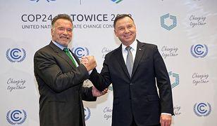 Prezydent Andrzej Duda oraz były gubernator Kalifornii Arnold Schwarzenegger podczas spotkania bilateralnego