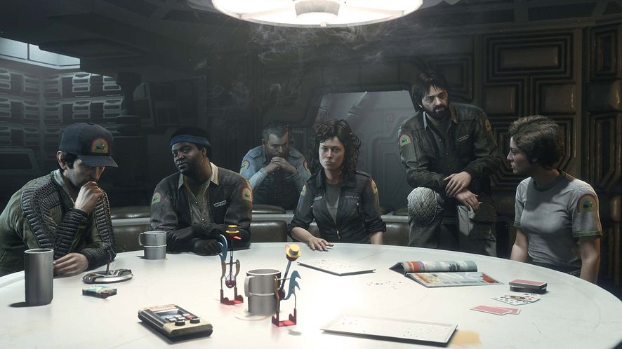 Załoga Nostromo: Brett, Parker, Ash, Ripley, Dallas i Lambert.