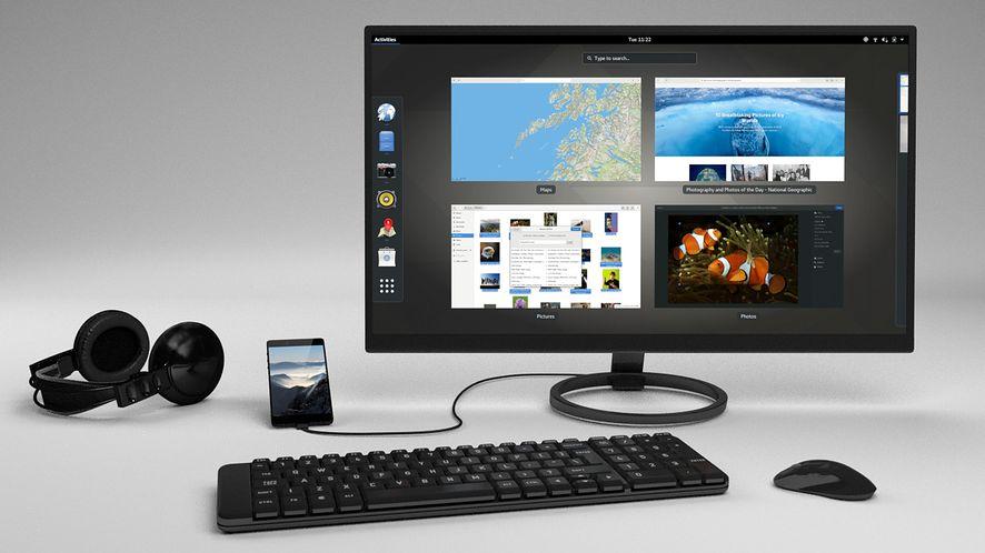 Librem 5 jako desktop, z monitorem, klawiaturą i myszką