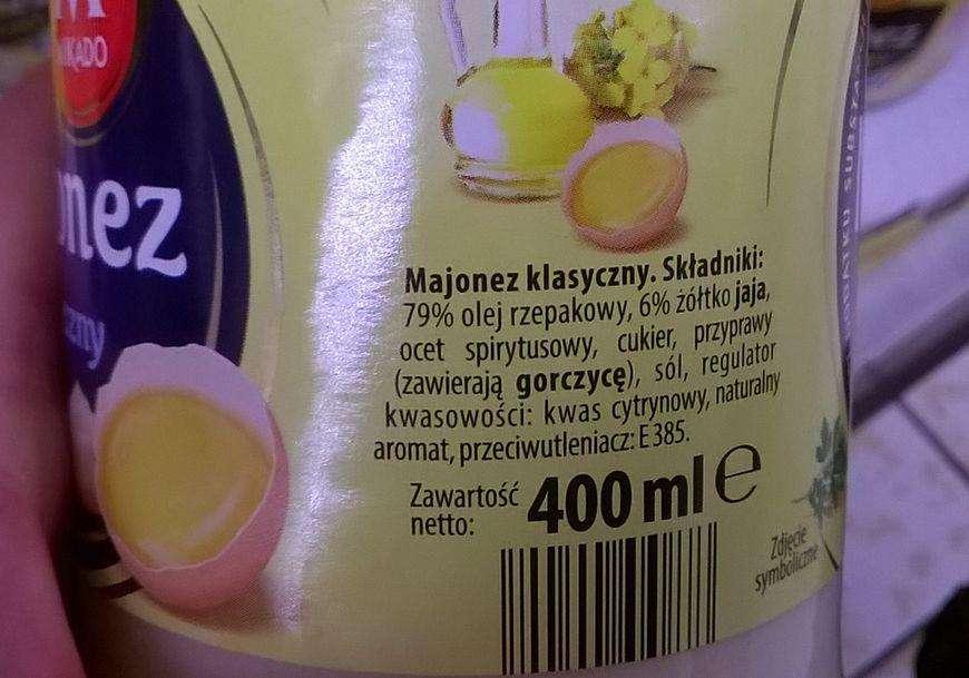 Skład majonezu z Lidla