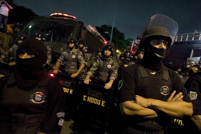 Starcia z policją w Sao Paulo.