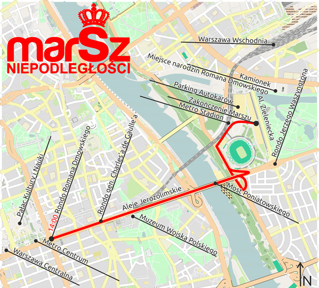 Mapa 10. Marszu Niepodległości w Warszawie