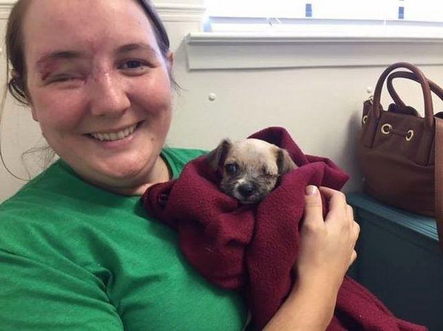 Kobieta, która straciła oko w strzelanie, adoptuje szczególnego psiaka