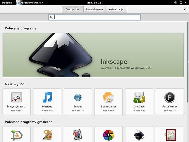Ekran główny centrum oprogramowania Fedory GNOME