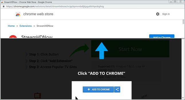 Instalacja szkodliwego dodatku zgodnie z założeniem Google'a uruchamia oficjalny Chrome Web Store, ale sprytnie manipuluje rozmiarem nowego okna zachęcając do instalacji bez przeczytania faktycznego opisu rozszerzenia. Źródło: Bleeping Computer.