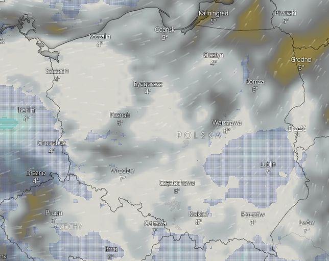 Deszczowa pogoda w Polsce. Lokalnie możliwe burze
