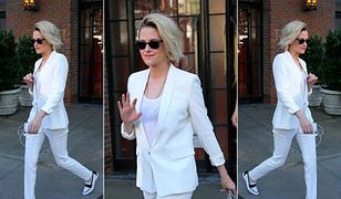 LOOK OF THE DAY: Kristen Stewart w białym garniturze