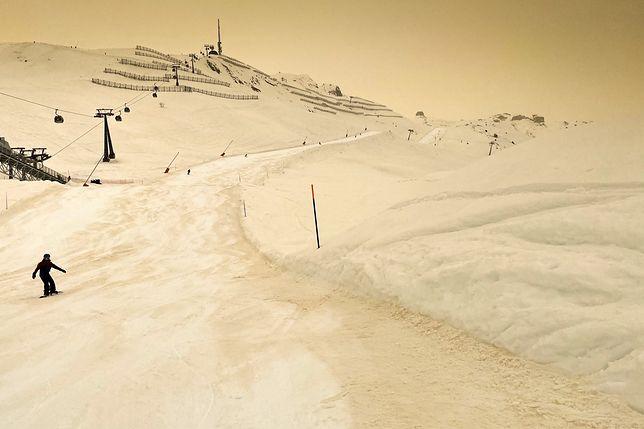Żółty śnieg widoczny był także w Szwajcarii