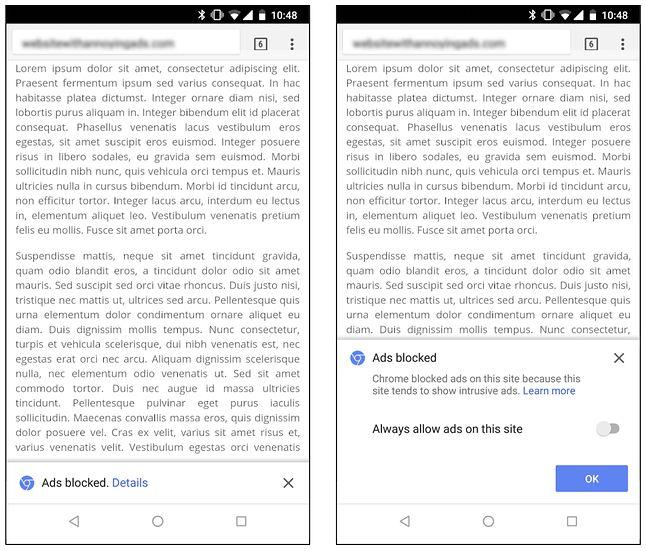 Powiadomienie o zablokowanych reklamach w mobilnym Google Chrome, źródło: blog.chromium.org