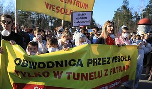 Protest mieszkańców Wesołej przeciw obwodnicy