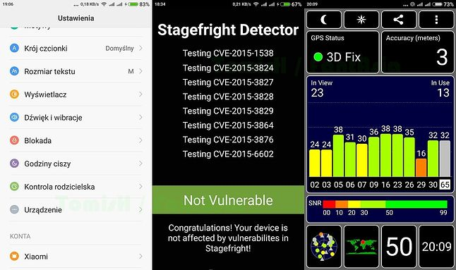 Ustawienia / Stagefright Detector / GPS
