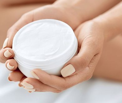 Skin Care Product. Closeup Of Woman's Hands Holding Face Cream In A Jar. Beautiful Female Hands With Natural Manicure And Healthy Nails Holding Body Lotion. Beauty Concept
