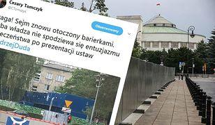 """Przed Sejmem znów pojawiły się barierki. """"Chyba władza nie spodziewa się entuzjazmu po prezentacji ustaw"""""""