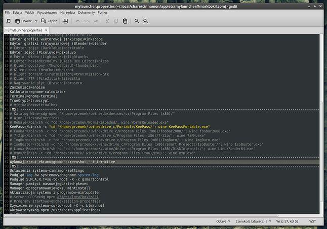 """Edycja pliku konfiguracyjnego apletu """"MyLauncher""""."""