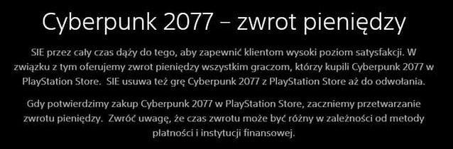 komunikat Sony o zwrocie gry, fot. PlayStation