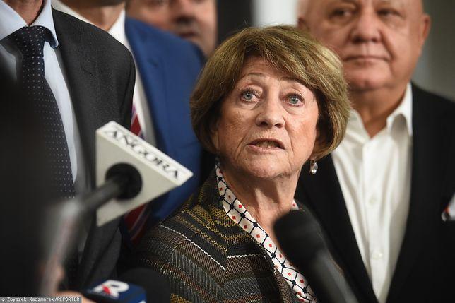 Barbara Borys-Damięcka. Konferencja senatorów z Klubu Parlamentarnego PO-KO.