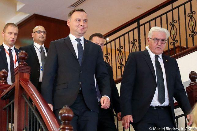 Andrzej Duda i Frank-Walter Steinmeier podczas Spotkania Prezydentów Państw Grupy Arraiolos na Malcie.
