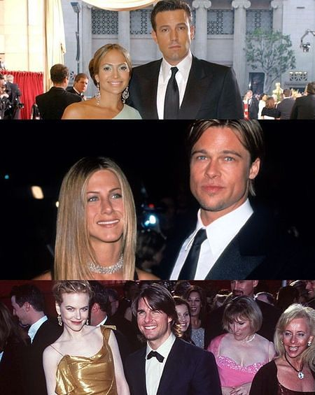 Jennifer Lopez, Ben Affleck, Jennifer Aniston, Brad Pitt, Nicole Kidman, Tom Cruise