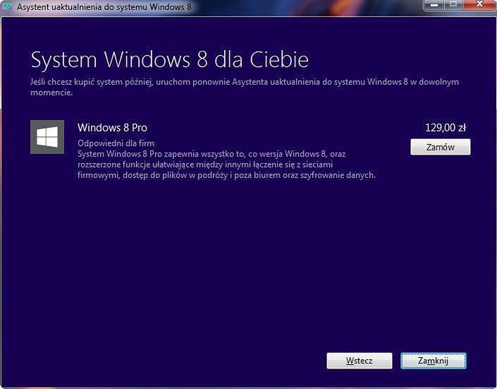 Wdrażam Windows 8 w miejsce XP, cz. 1 - Asystent proponuje najlepszą dla usera wersję systemu.