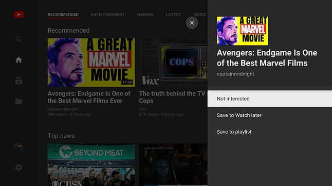 Nowe menu w aplikacji YouTube na telewizorach, źródło: 9to5mac.