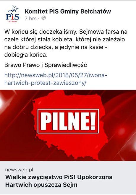 Na profilu Komitetu PiS Gminy Bełchatów nie ma już kontrowersyjnego wpisu