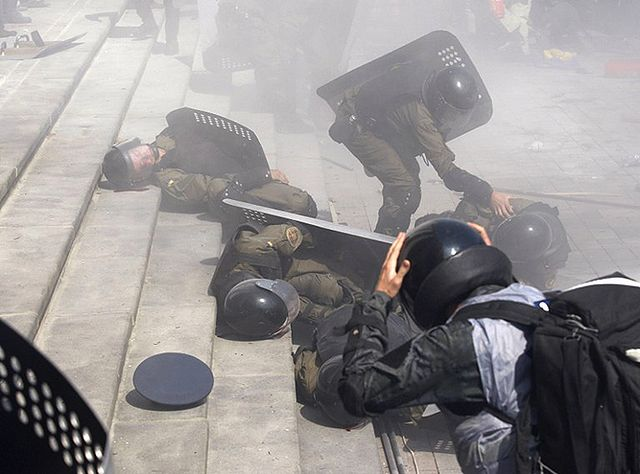 Burzliwy poniedziałek w Kijowie