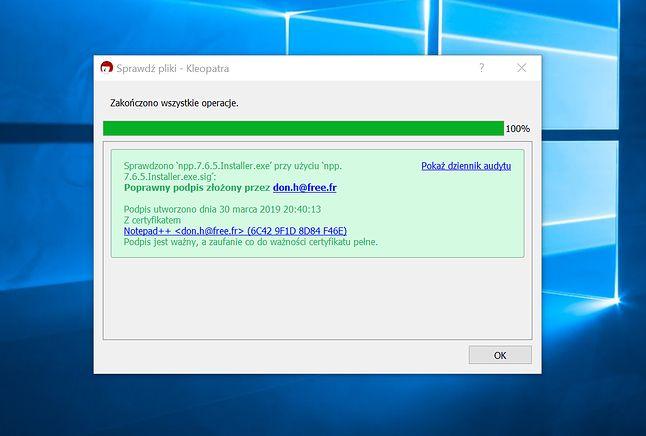 Podpis został pozytywnie zweryfikowany, można spokojnie instalować Notepad++