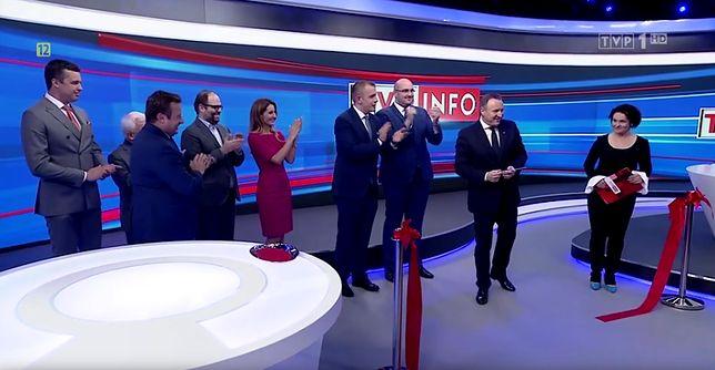 Jacek Kurski na otwarciu nowego studia TVP Info
