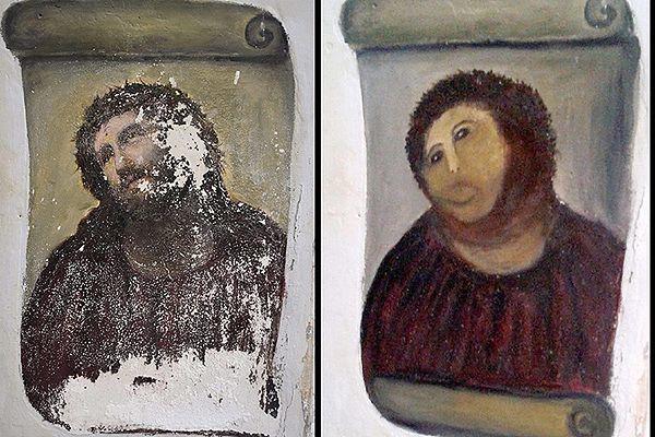 Zniszczony oryginał i fresk po renowacji