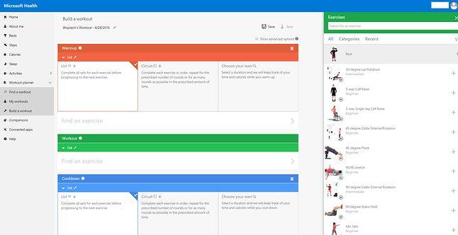 Moduł Workout planner - układanie treningu