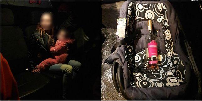 Pijana matka z dzieckiem i otwartym winem w ręce. Miała 2 promile