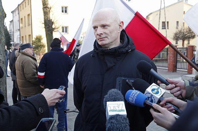 Bogusław Łabędzki w lutym podczas marszu w Hajnówce
