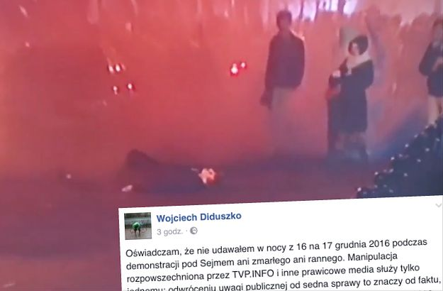 """Mężczyzna, który w trakcie piątkowych protestów położył się na jezdni """"nieprzytomny"""" wydał oświadczenie. Tak się tłumaczy"""