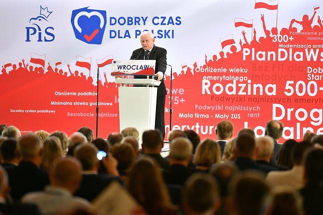 Wybory parlamentarne 2019. Jarosław Kaczyński na konwencji PiS we Wrocławiu